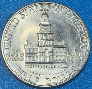 "1976 D United States ½ Dollar ""Kennedy Half Dollar"" Bicentennial aUNC Coin"