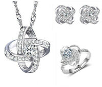 925 Silver Necklace Earrings Ring Crystal Star Style Set Women Fashion Jewelry