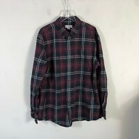 Orvis Flannel Men's XL Red Plaid Long Sleeve Button Front Shirt