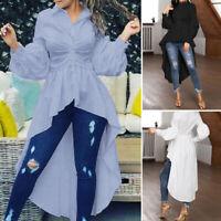 ZANZEA Womens Long Sleeve Shirt Button Down Tunic Tops Asymmetrical Swing Blouse