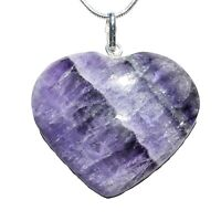 "CHARGED Himalayan Purple Rainbow Fluorite Crystal Heart Pendant + 20"" Chain"
