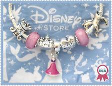 7 pcs Disney Rapunzel Princess Charms Pink European Murano Glass Beads Set New