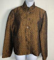 Cold Water Creek Womens Blazer Sz S Brown 5 Button Jacket Mandarin Collar IA18