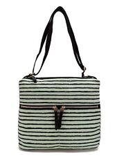 Fossil Erin Print Crossbody Handbag Mint Green & Black Stripe Canvas New! NWT