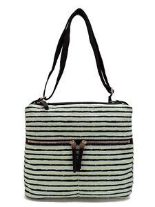 Fossil Erin Canvas Crossbody Handbag Mint Green Black Stripe New! NWT