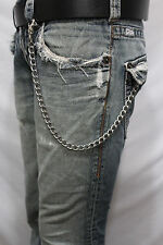 Men Silver Metal Short Wallet Chains Thick Link KeyChain Jeans Bold Look Biker