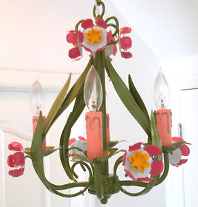ITALY Classic TOLE Floral Garden style 4 light wet green finish Chandelier