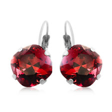 Scarlet Rosy Wine Red Square Stone Cushion Cut Crystals from Swarovski Earrings