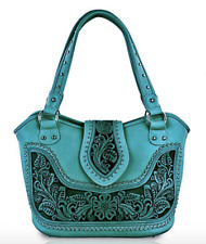 Montana West Tooled Leather Concealed Carry Handgun Handbag