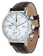 Zeppelin Herren Armbanduhr Nordstern Chronograph dunkelbraun 7578-1