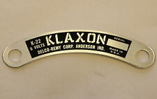 KLAXON K-22 HORN ID TAG CADILLAC STUTZ DUESENBERG J & MANY OTHER CARS