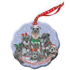 Schnauzer Miniature Schnauzer Dog Holiday Porcelain Christmas Tree Ornament