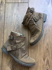 VGC Topshop Brown Brushed Leather Fleece Lined Comfort Biker Ankle Boots 4 37