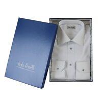 $395 NWT ITALO FERRETTI White Blue Checked Cotton Dress Shirt 39 15.5 M