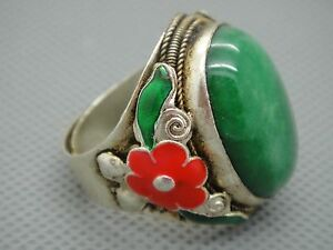 Collectible Chinese Inlay Green Jade Tibet Silver Copper Cloisonne Flower Ring