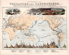 Vintage Map - Phenomena of Volcanoes and Earthquakes 1852