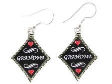 Grandma Silver Diamond Wire Hook Earrings Jewelry Family Gift Grandmother