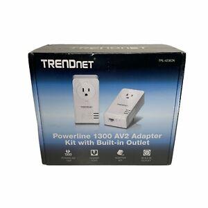 TRENDnet TPL-423E2K Powerline 1300 AV2 Adapter Kit  with Built-in Outlet Sealed