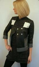 Emporio Armani Black Grey & White Leather Jacket EU38 XS Small UK 4 /6 RRP £925