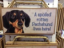 Spoiled Rotten Doxie Blk Tan Wood SIGN PLAQUE 5 X 10 USA Made