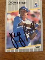 George Brett 1989 Fleer Hand Signed Autographed Baseball Card W/COA Royals HOF