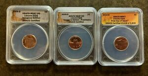 3 ANACS MS67 Lincoln Cents: 2009-D, 2009-D, & 2010-D - No Reserve