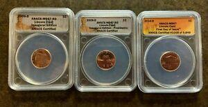 3 ANACS MS67 Lincoln Cents: 2009-D, 2009-D, & 2010-D - No Reserve