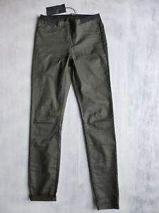 MAISON SCOTCH & SODA SKINNY Legging coated Hose grau-braun Gr 2 36 W28/L30 Neu