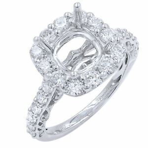Cushion Cut Diamond Engagement Ring Setting With Large Diamonds 1.31cts SZ6.5
