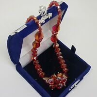 VINTAGE/RETRO Glass Necklace Red/Orange Glass Magnetic Clasp Deco Style Faceted