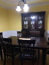 dining room set. Table, six chairs, and hutch