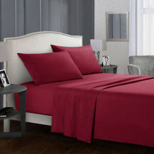 2021 New 4 In 1 Solid Color Flat Bed Sheet Fixed Bed Sheet Pillowcase Top Hot