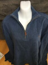 Men's Ralph Lauren Polo Sweater Heathered Blue Brown XL Pony 1/4 Leather Zip L/S