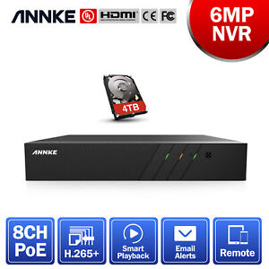 ANNKE 6MP H.265+ Network Video Recorder Security NVR for POE Surveillance System