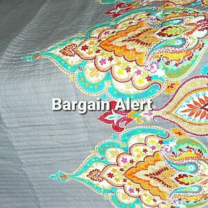 Moroccan Bohemian King Quilt Only Gray Teal Orange Red Floral Reversible No Sham