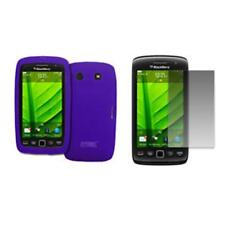 for BlackBerry Torch 9850 Case Silicone Skin Purple+LCD Screen Protector Guard