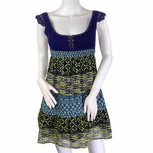 Free People Boho Silk Empire Waist Beaded Peasant Crochet Cap Sleeve Dress 2