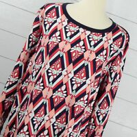 Crown Ivy Size 2X Curvy Knit to Woven Top Blouse Pullover Navy Blue White Pink