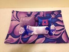 Blue & Purple Floral Bedding Set For Barbie, Monster High, Or Bratz Dolls