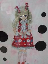 Rare  Jim Faraone  Art Work Picture  Azone  Girl With White Rabbit  Framed