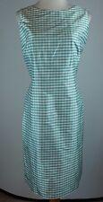Talbots Size 12 Silk Gingham Check Dress Blue White JN30