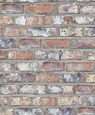 Vlies Tapete Bruchstein Stein Mauer Ziegelstein terra rot grau rost 3103 klinker