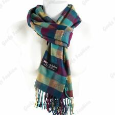 Women Men 100% CASHMERE Scarf Solid Plaid Wool SCOTLAND High Quality Winter