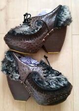 NEW IRREGULAR CHOICE Ladies Raven Queen Platform Wedge Ankle Boot UK 7.5 8 Goth