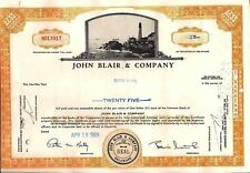 Stock certificate John Blair & Company State of Delaware 1969 (Television)