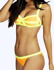 BOOHOO Zambia Bikini Set Neon Contrast Strap Orange Yellow Size L 14 Padded NEW