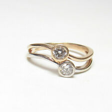Estate 14K Yellow And White Gold Two Round Brilliant Cut Diamond Ring 0.40 Cts