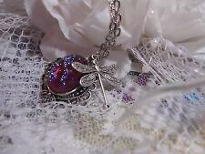 Mothers Day Dragons Breath Fire Opal Stone Necklace Dragonfly Silver Memorial