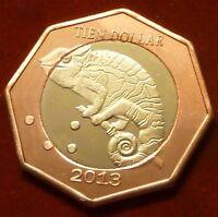 Saba Island 10 dollars 2013 UNC Chameleon Bi-metallic bimetal unusual coinage