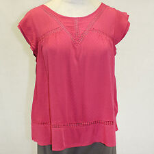 NEW Democracy Plus Size Mesh Laced Top Crimson Blouse Keyhole Summer 1X